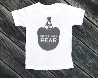 Birthday Bear Kid's White TShirt with Grey Print