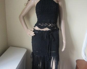 CROCHET MAXI SKIRT, Boho fringe skirt, beach wedding skirt, Black fringe skirt, Maxi  fringe skirt, hippie fringe skirt, festival clothing