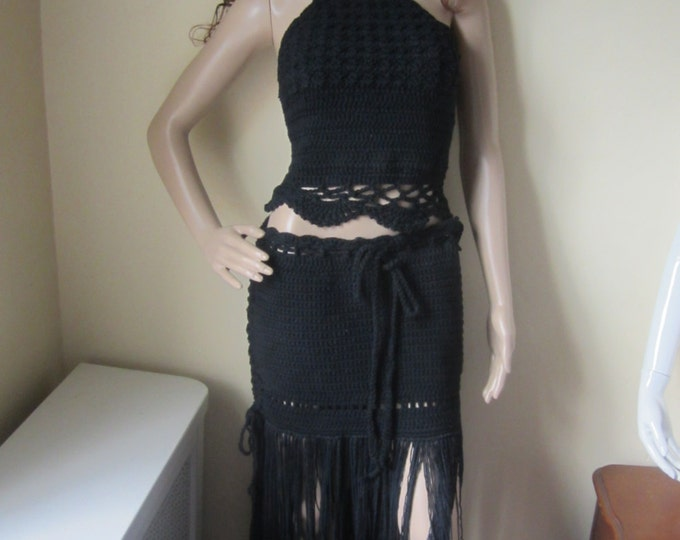 CROCHET MAXI SKIRT, Boho fringe skirt, beach wedding skirt, Black fringe skirt, Maxi  fringe skirt, hippie fringe skirt, festival clothing