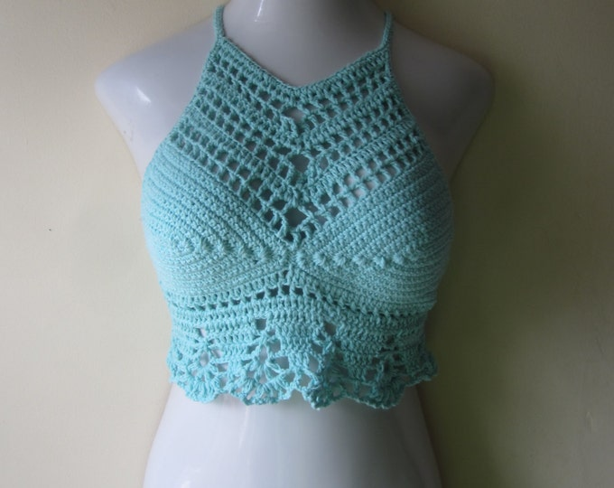 PASTEL BLUE TOP/ Crochet cropped halter top/High neck halter top, Music festival, festival clothing, boho chic, beach cover up, gypsy top