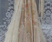 Reserved for Crystal deposit for custom Lace Wedding Dress boho nude  floral cream  vintage  by vintage opulence on Etsy