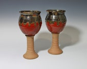Ceramic Red and Chrome Wine goblet , Chalice, handmade stemmed ceramic glass, ready to ship