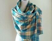 Aqua Blue Plaid Blanket Scarf Wool Oversized Shawl Cape Wrap Turquoise Yellow