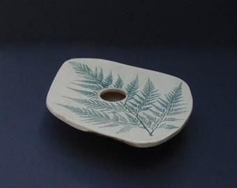 Fern Vase / Hand Made Pottery Pin Frog Vase