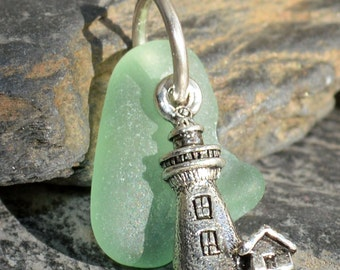 CALM WATERS LIGHTHOUSE -  Sea Glass Lighthouse Pendant