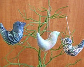 Primitive Aqua Blue Bird Ornament Bowl Filler Decorations Set of Three