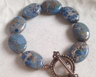 Blue Jasper and Bronze Bracelet