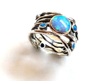 Opals boho ring, Sterling silver band, engagement ring, organic band, wide silver band, two tone ring, multi stones ring - Diamond sky R2151