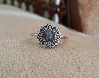 "Antiqued Titanium Spinel Filigree Engagement Ring Art Deco Edwardian Art Nouveau 14 K White Gold size ""The Clara Jane"""