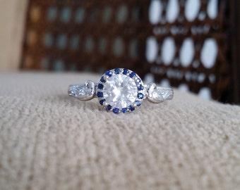 """Antique Blue Sapphire Halo White Sapphire Diamond Engagement Ring Birds Nature Blue Flower 14K White Gold Art Deco Nouveau """"The Love Birds"""""""