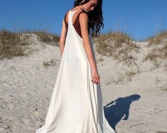 Organic Dress - Racer Back Tank Wanderer Long Dress ( organic tissue cotton knit )  - organic dress