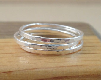Textured Stack Ring - A hammered band ring made with .999 fine silver -  Thin Stacking Rings - Layering rings