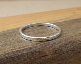 Hammered Stacking Ring - Stackable Ring - Silver Stack ring - Textured medium stack ring made with .999 fine silver