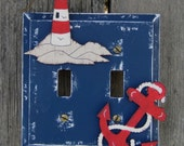 LIGHTHOUSE Switch Plate Cover - Hand Painted Wood
