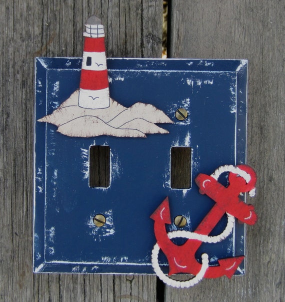 Lighthouse switch plate cover hand painted wood by for Lighthouse switch plates