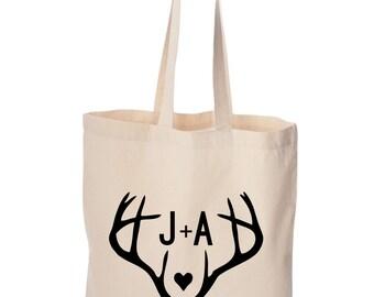 Antler Design Wedding Welcome bag Bulk order lot Personalized Welcome Wedding bag with bride and groom's names Wedding date favor deer horns