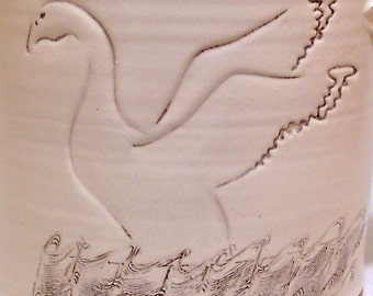 Goose Design on a handmade  Large Crock VINTAGE decorative Pottery formed on a potter's wheel