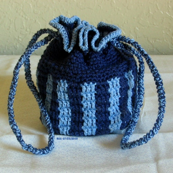 Blue Striped Pouch or Bag - Handmade in Navy & Light Blue Cotton - Drawstring Closure - Reusable - Personal Accessory