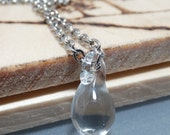 Tiny clear, glass, teardrop, raindrop, silver chain, necklace