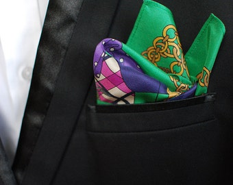 Kelly Green Dandy Men's Silk Pocket Square Handkerchief