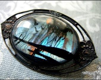 Luminous Art Deco Vintage Sterling Silver Butterfly Wing Brooch