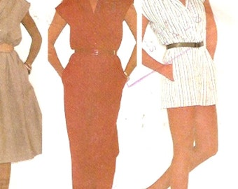 Spring Summer Jumpsuit in two lengths and dress 80s multi size sewing pattern McCalls 7531 Uncut Sz 8 to 12