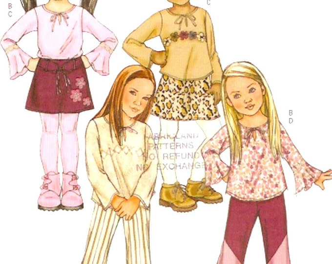 Girls boho fashion top skirt pants belt sewing pattern Butterick 4277 Sz 6 to 8  or 2 to 5 Uncut