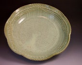 Large Leaf Ring Design Pottery Serving Bowl in French Country Green/Large Pottery Serving Bowl
