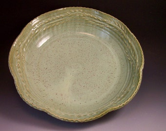 Large Leaf Ring Design Pottery Serving Bowl in French Country Green/Large Pottery Serving Bowl