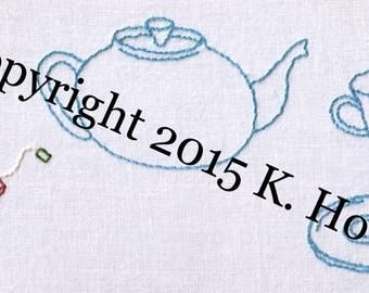 Tea Hand Embroidery Pattern, Tea Set, High Tea, Tea Time, Tea, Dishes, China, Tea Pot, Cup, Saucer, Bag, Afternoon, PDF