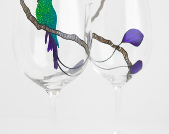 Long Tailed Hummingbird Glasses - Hand Painted Wine Glasses - Mothers Day Gift - Green and Purple Hummingbirds