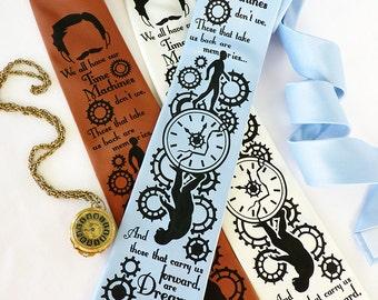 Time Machine Necktie - H.G. Wells, Science Fiction Tie, Steampunk Wedding, Book Necktie - Literary Gifts, Librarian Gift