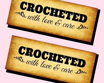 Printable PDF Craft Show Tags - Crocheted with Love and Care Labels for your handmade products