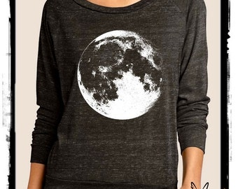 MOON Luna Heathered Slouchy Pullover long sleeve Girls Ladies shirt screenprint Alternative Apparel