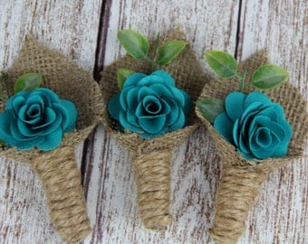 Dark Turquoise Boutonniere, Rustic Boutonniere