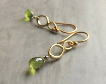 Cardiff Earrings with Peridot Gold Green Gold Summer Fashion