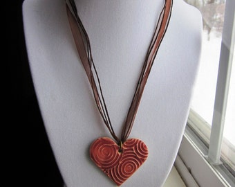 Great VALENTINE'S DAY GIFT - Heart Pendant Necklace in Mauve