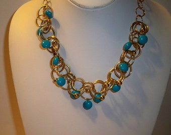 Turquoise & Gold Chain Necklace Vintage Alfani Costume Jewelry