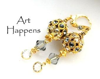 "Elegant Black Diamond and Crystal AB Swarovski Crystals in Gold plate, Crystal Dangle Earrings, Wedding Earrings Jewelry, ""Stormy Mornings"""