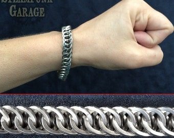 Men's Bracelet - SQUARE Steel Half Persian 4 in 1 - Metal Chainmaille Jewelry