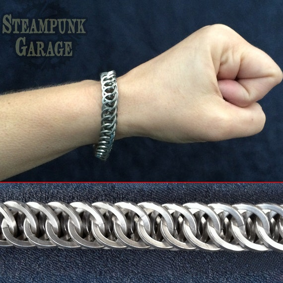 Men's Bracelet - SQUARE Steel Half Persian 4 in 1 - Metal Chainmaille Jewelry