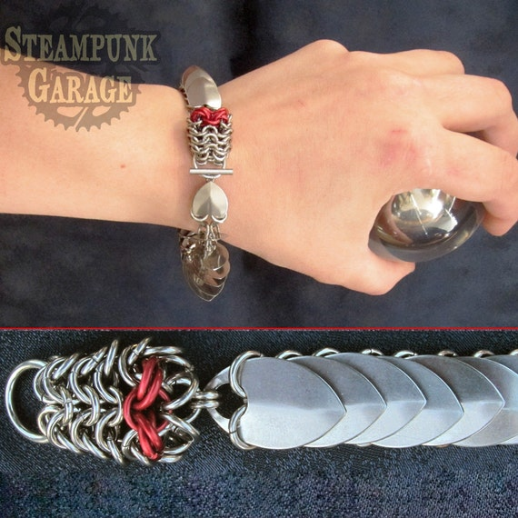 Bracelet - Steel Dragon Scale Maille - Chainmaille