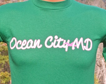 vintage 80s t-shirt OCEAN CITY maryland shore beach neon preppy tee shirt Small XS