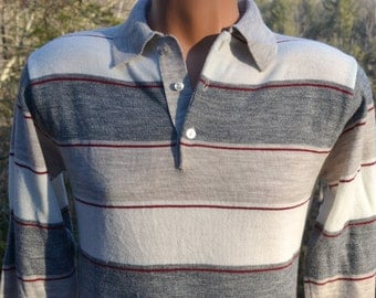 vintage 70s polo sweater golf soft striped knit shirt collared Medium Small 80s anderson little