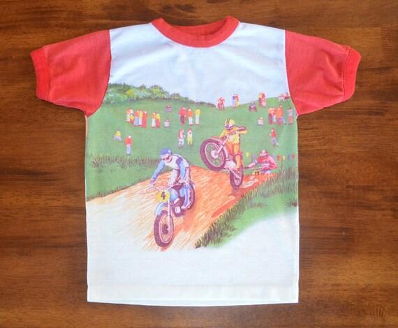 vintage 70s t shirt bmx motocross dirt bike ringer