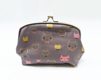Cosmetic bag, grey and gold cotton cat fabric, cotton pouch