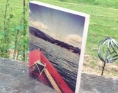 Adventure! photograph on wood, art print, boat, lake, photography