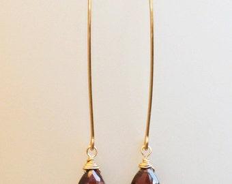 Red Garnet Earrings, Long Dangle Earrings Gold or Rose Gold Filled, Mozambique Garnet, January Birthstone