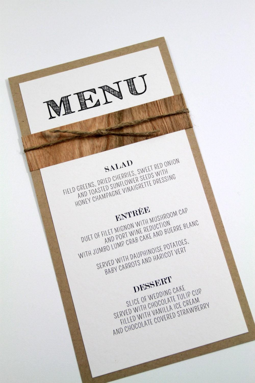 Rustic chic menu rustic wedding menu card mid century for Table 9 menu