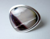 Mookaite Jasper Ring, Big Ring, Sterling Silver Ring